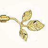 Наконечник (Listek) малый лист D16мм золото